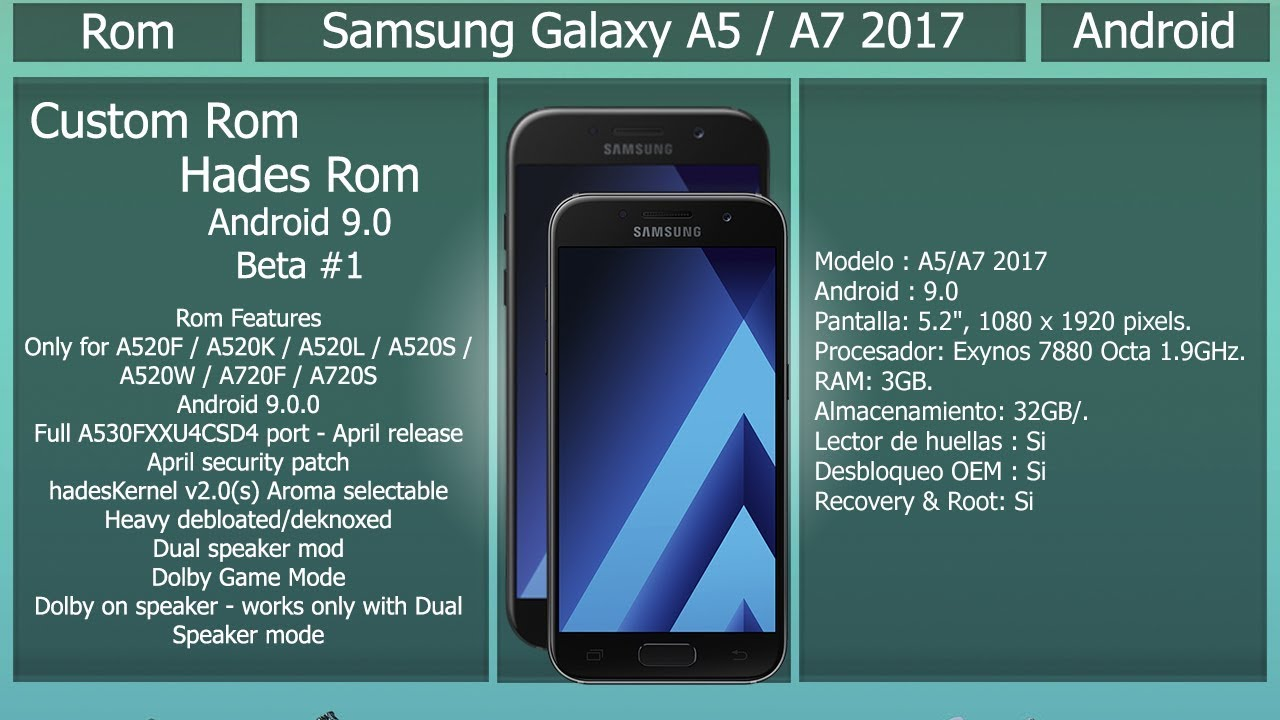 Rom Hades Pie Beta 1 - Android 9 0 - Samsung Galaxy A5/A7 2017