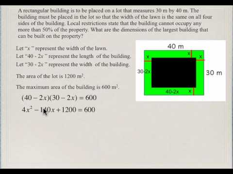 Quadratic Equations Solving Word Problems By Factoring 1c Youtube
