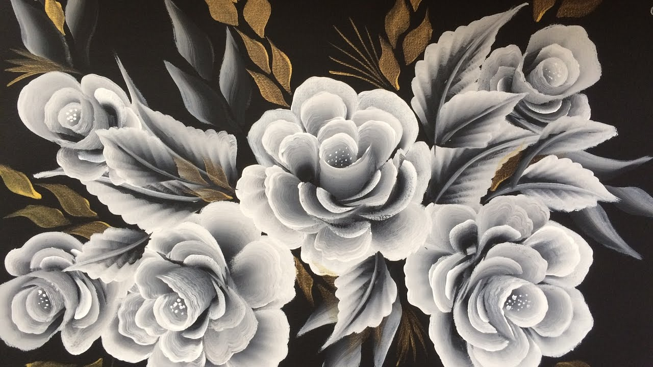One Stroke Painting White On Black Roses Youtube
