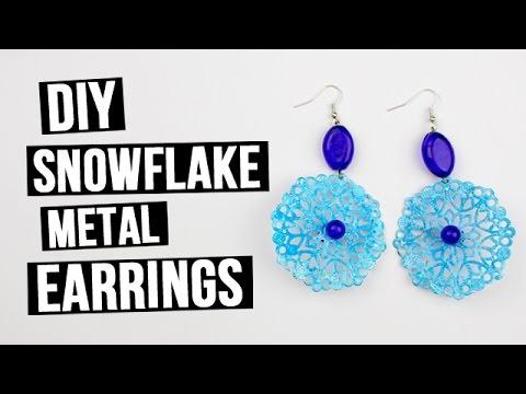 DIY Statement Snowflake Metal Earrings