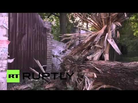 Ukraine  Central Donetsk street devastated by heavy shelling