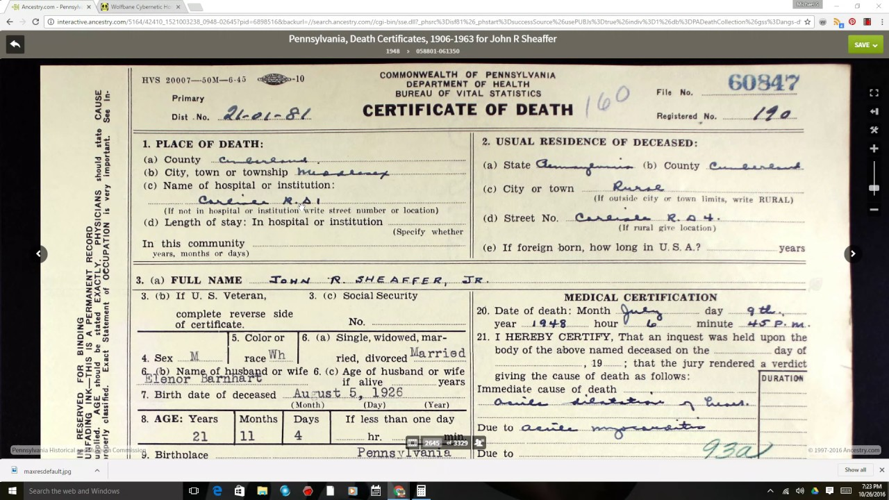 How to read a death certificate youtube how to read a death certificate xflitez Gallery