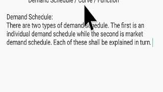 Demand Schedule / Curve / Function