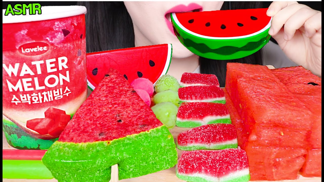 ASMR WATERMELON *HOT POPS, WATERMELON SHAVED ICE, WATERMELON GUMMY, RICE CAKE 수박 먹방 EATING SOUNDS