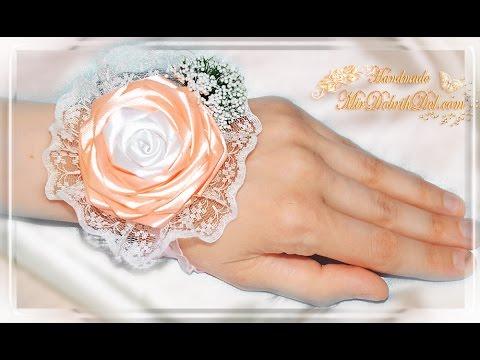 🌹БРАСЛЕТ ДЛЯ ПОДРУЖКИ НЕВЕСТЫ | Бутоньерка с розой канзаши на руку