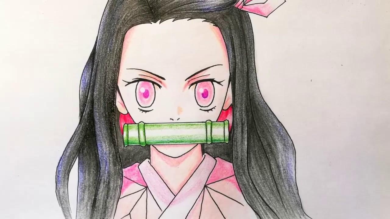 Vẽ Nezuko chì màu Deli || HOW TO DRAW NEZUKO|| Kimetsu No Yaiba
