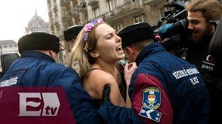 Protestas de activistas de Femen por visita de Putin a Hungría/ Global