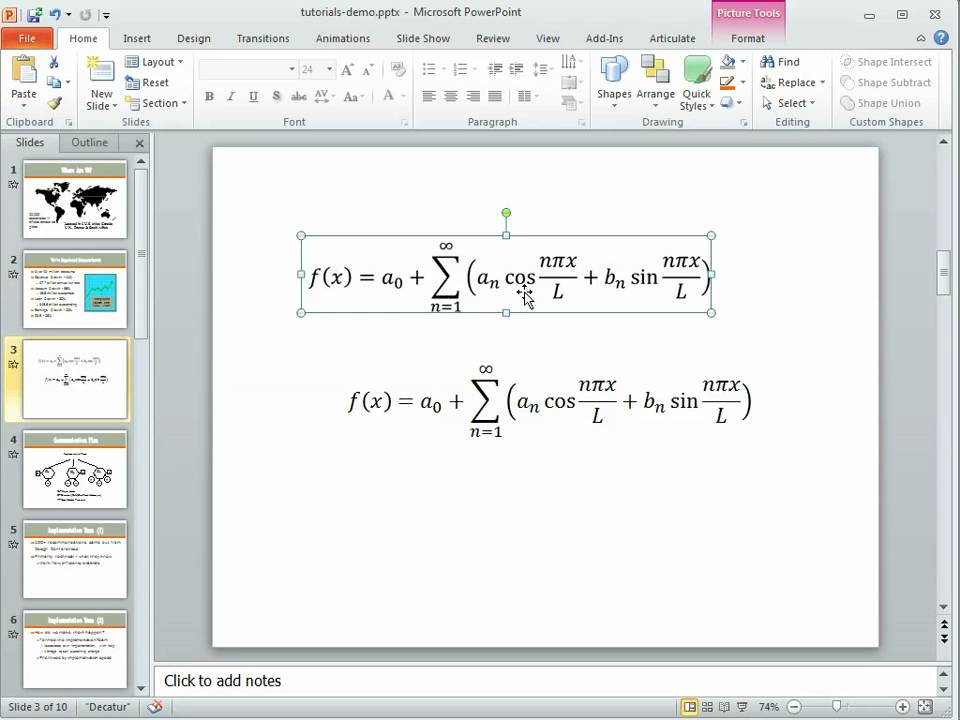 how to use a template in powerpoint - how to use the equation editor in powerpoint 2010 youtube