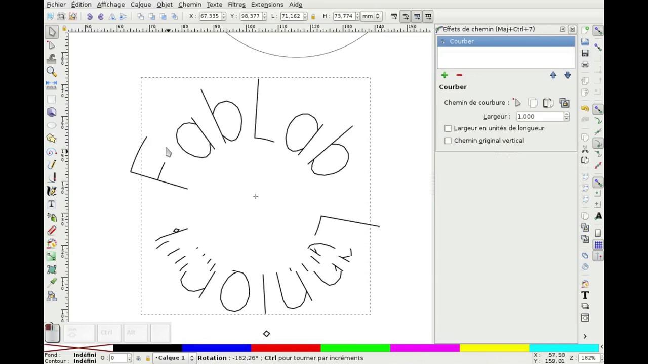 Inkscape Laser Tips : Déformer un texte à graver