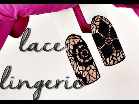 👯 Black Lace Lingerie Nails 👯 :: Easy nailart tutorial :: Odette Swan