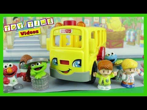 FISHER PRICE Little People School Bus Toy Sesame Street Elmo Laugh Learn Kindness Fun