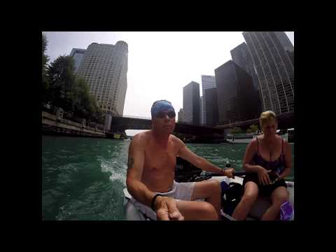 Dinghy past Trump tower ......... strange fun time up the Chicago river