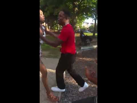 Big Girl body slam boy who tried to protect his girlfriend in Acorn..