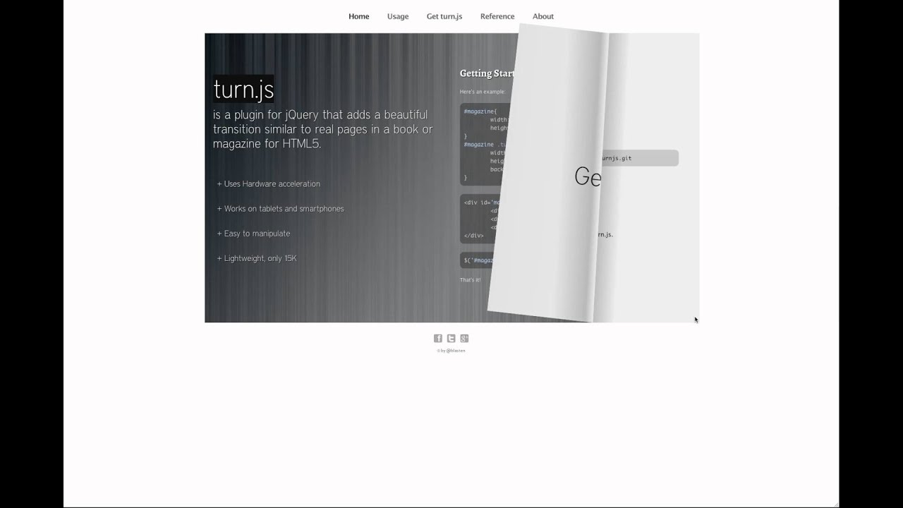 Turn js - The page flip effect for HTML5