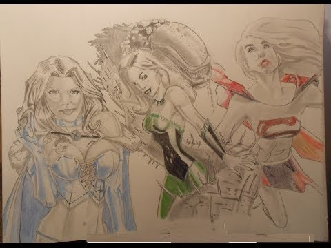 Emma Frost, Poison Ivy, Supergirl (Speed drawing)
