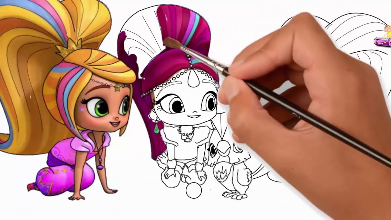 Shimmer And Shine Drawing Painting With Leah Coloring Pages Cute To Draw
