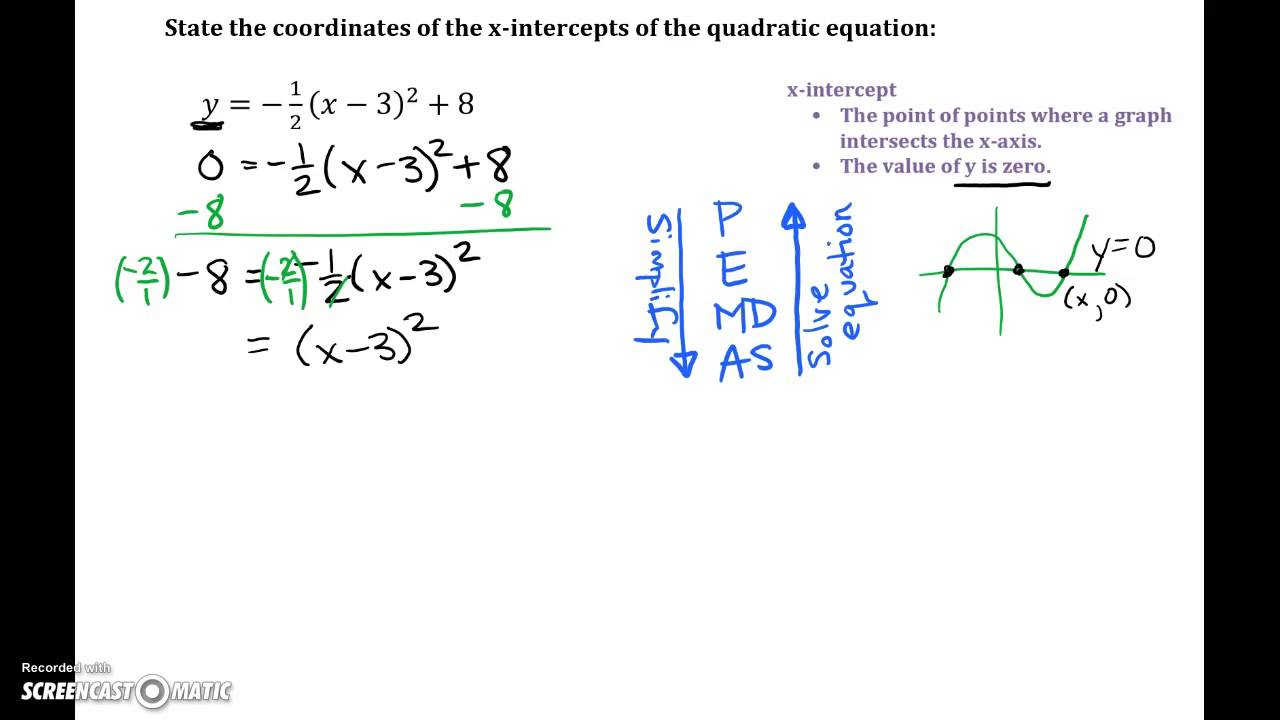 Quadratic Equations: Find X-Intercepts from Vertex Form - YouTube