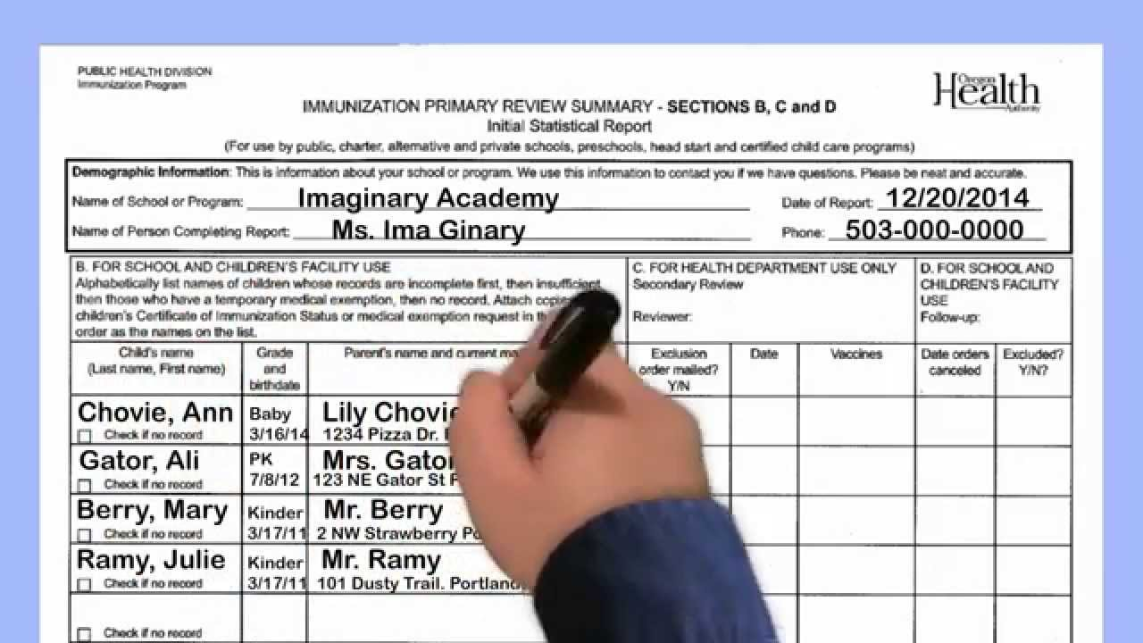 Immunization Reporting Process Step 3 Fill Out The Primary Review Summary