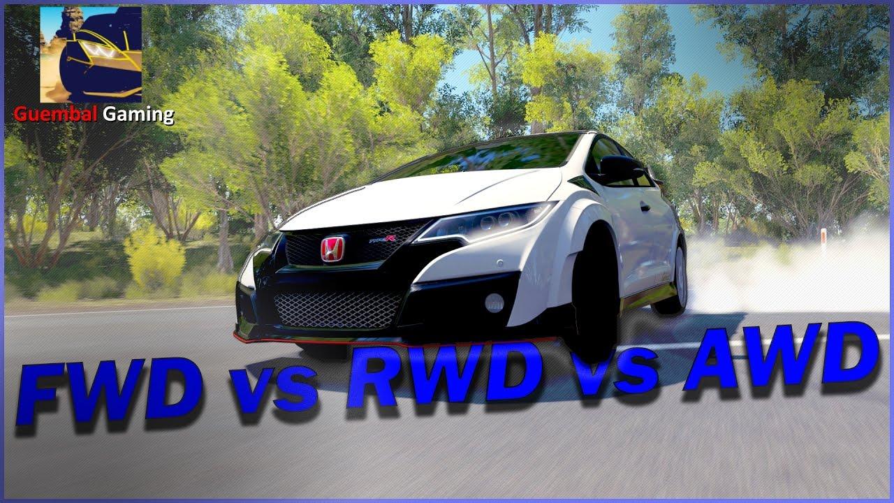 Forza Horizon 3   Testing out FWD vs RWD vs AWD   Ft. '17 Honda Civic Type R - YouTube