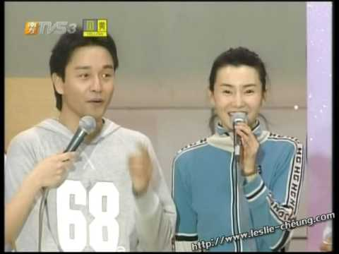 Leslie Cheung in badminton challenge for charity event (1999)
