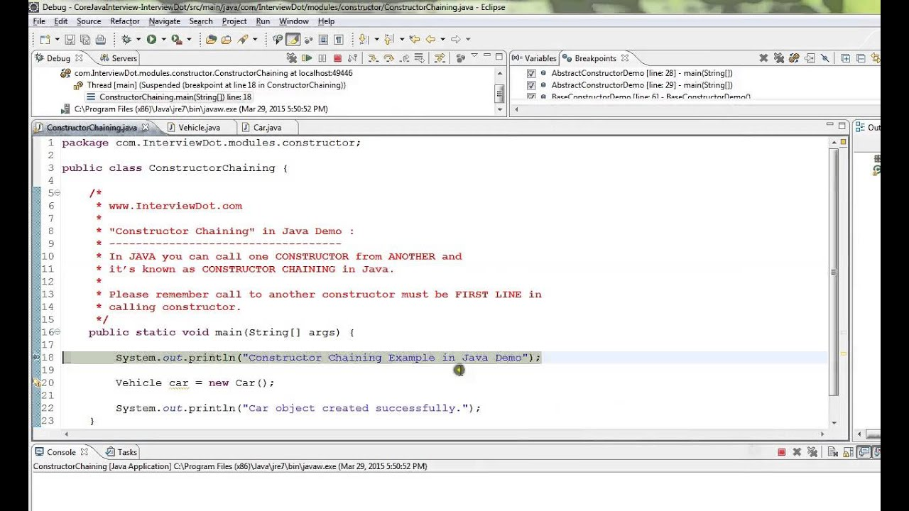 TAMIL CONSTRUCTOR CHAINING IN JAVA EXAMPLE DEMO