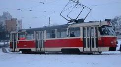 Киев. 22 трамвай (вид с кабины) 2018 год/ Kiev. 22 tram (view cab) 2018