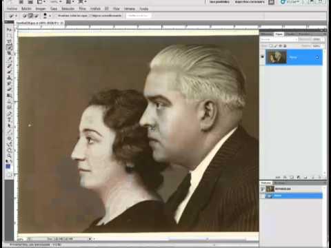 Eliminar textura del papel fotográfico antiguo. Restaurar ...