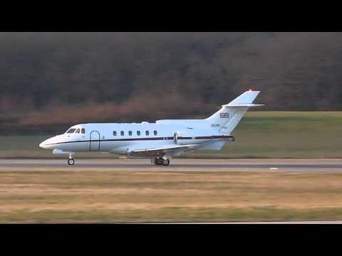 [HD] Royal Air Force BAe HS-125 take off at Geneva/GVA/LSGG