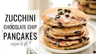 The *FLUFFIEST* Chocolate Chip Pancakes | VEGAN & GF