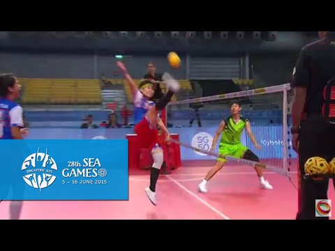Sepaktakraw Women's Regu Semifinals Myanmar vs Malaysia (Day 8) | 28th SEA Games Singapore 2015
