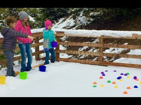 Thumbnail: Learn English Colors! Rainbow Snow Ball Toss with Sign Post Kids!
