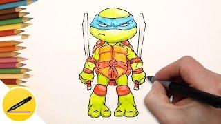 Как Нарисовать Черепашку Ниндзя Леонардо (чиби) поэтапно(Как рисовать черепашку ниндзя Леонардо. В этом видео я показываю как нарисовать черепашку ниндзя Леонардо..., 2016-10-19T16:04:05.000Z)