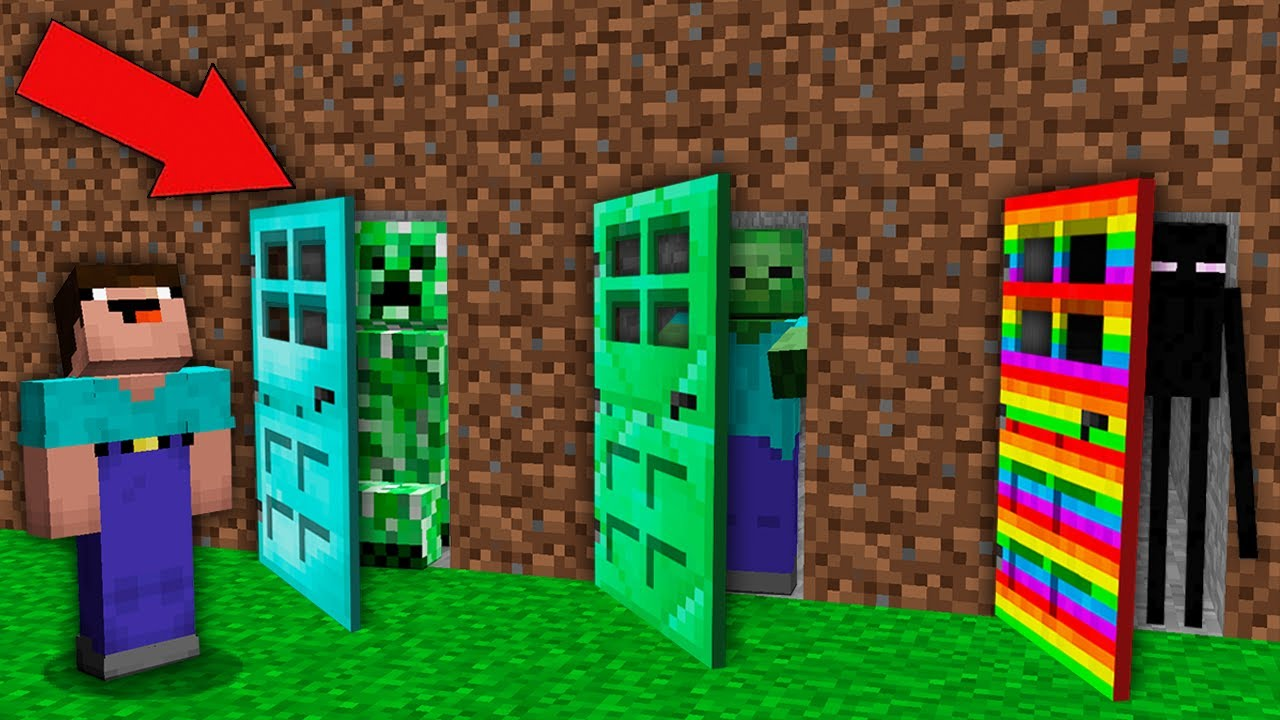 Minecraft NOOB vs PRO: WHY CREEPER VS ZOMBIE VS ENDERMAN HIDE BEHIND RAREST DOOR FROM NOOB! trolling
