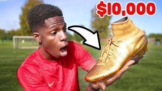 Testing 'golden' 10,000 football boots!! shoot like cristiano ronaldo??