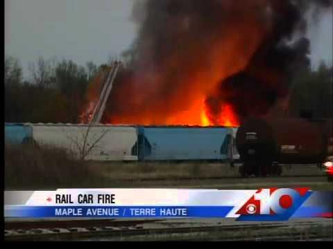 Rail car catches fire in Terre Haute