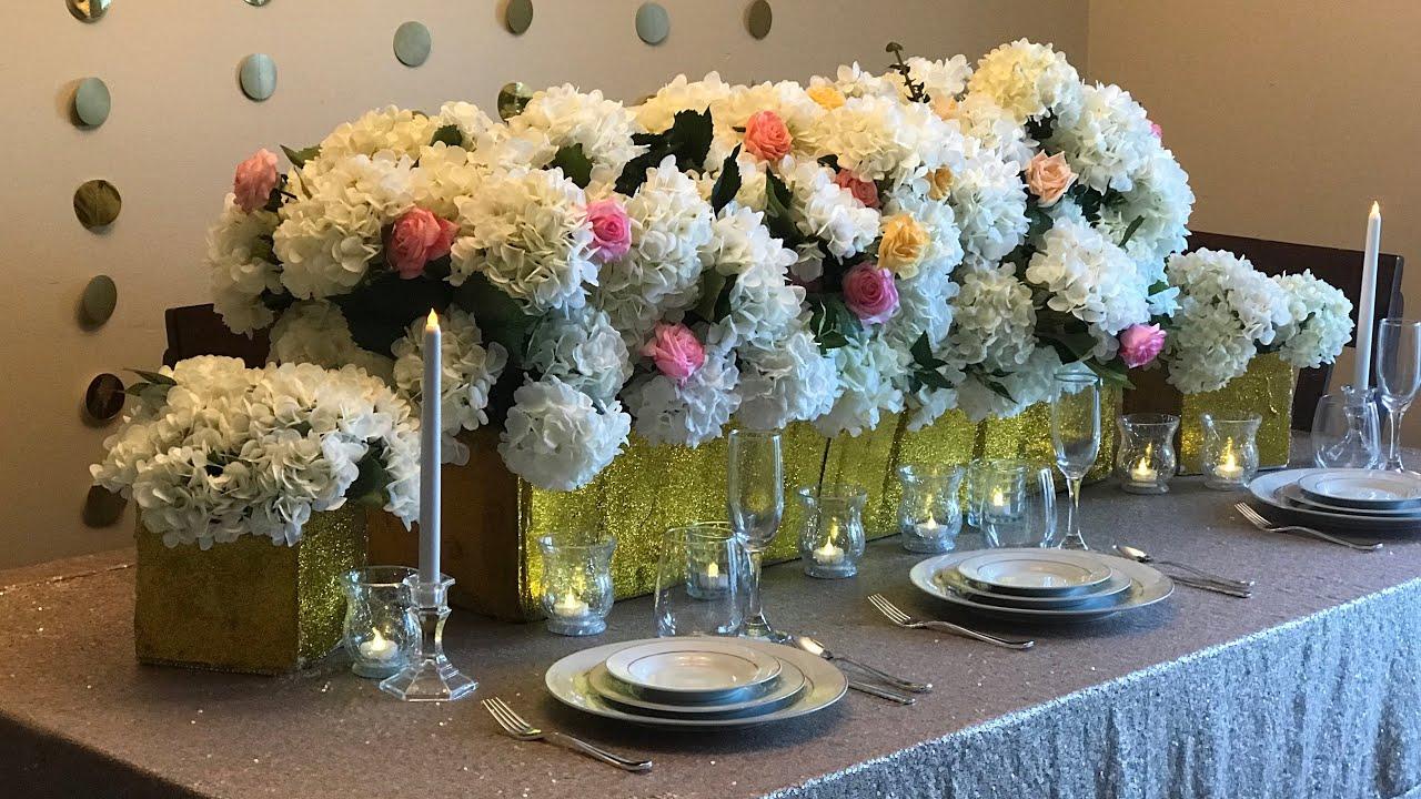 DIY Wedding Table Decor DIY   Bling Decor DIY  Floral Decor DIY Long Table  Decor Part 1