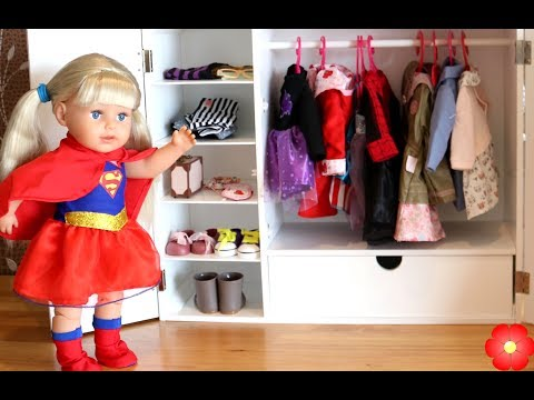 Baby Doll Wardrobe & Canopy Bed,  Dolls Bedroom Closet Tour and Dress Up Baby Born Doll