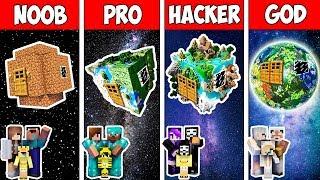 Minecraft NOOB vs PRO vs HACKER vs GOD : FAMILY BLOCK EARTH HOUSE BUILD in Minecraft   Animation