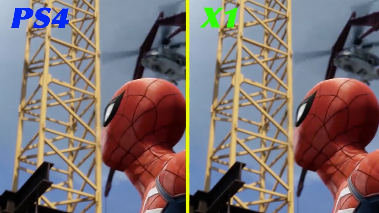 marvel's spiderman ps4 vs xboxone - graphics comparison - youtube