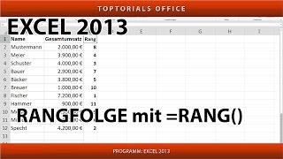 Rangfolge ermitteln mit der Funktion Rang (Excel)
