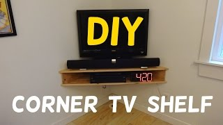 Check out how I built this simple corner wall mounted TV stand using 1x6s and a few screws. It