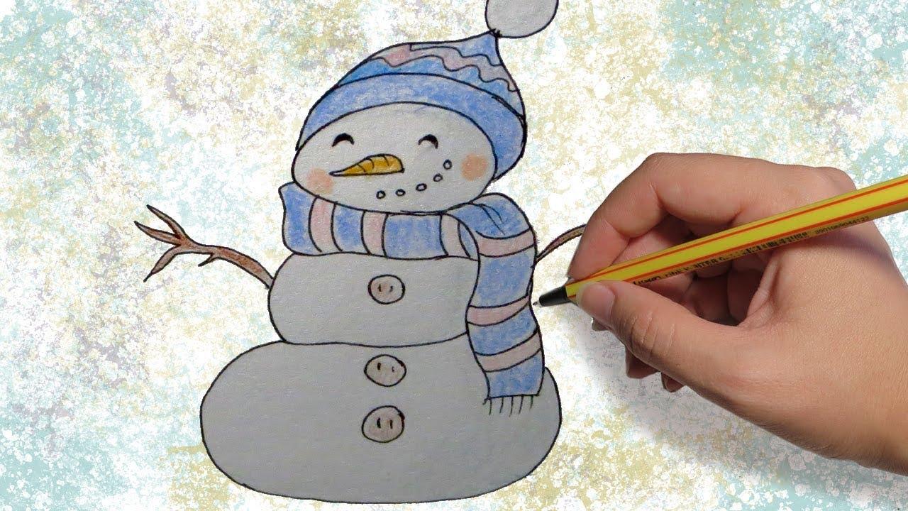 COMO DIBUJAR UN MUÑECO DE NIEVE PARA NAVIDAD: Dibujos para niños a lapiz paso a paso