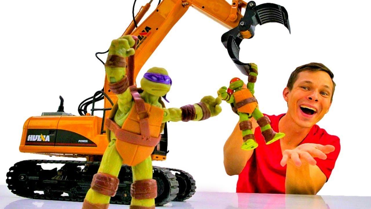 Что строят Черепашки Ниндзя и Фёдор? Игры с машинками.