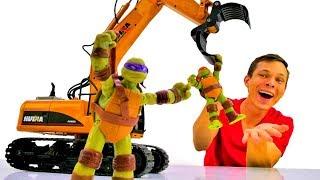 Черепашки Ниндзя и Фёдор на стройке! Игры с машинками.
