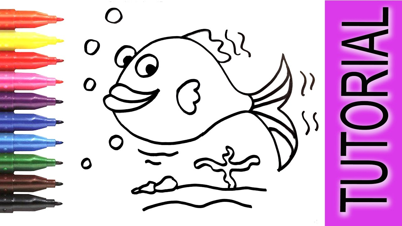 fish coloring painting pages for kids learn how to draw paint for children step by step
