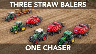 Straw Baling - Three Balers in One Field