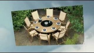 Teak 8 Seater Southsea Textilene Recliner Bengal Pedestal Lazy Susan Table Set