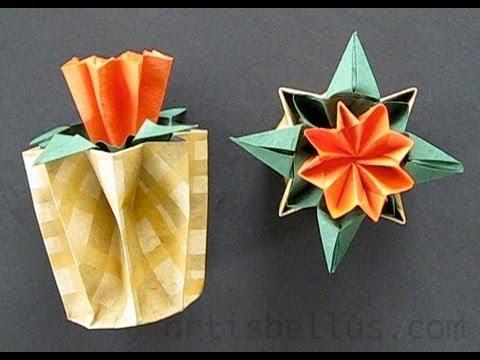kusudama flower and pot youtube. Black Bedroom Furniture Sets. Home Design Ideas