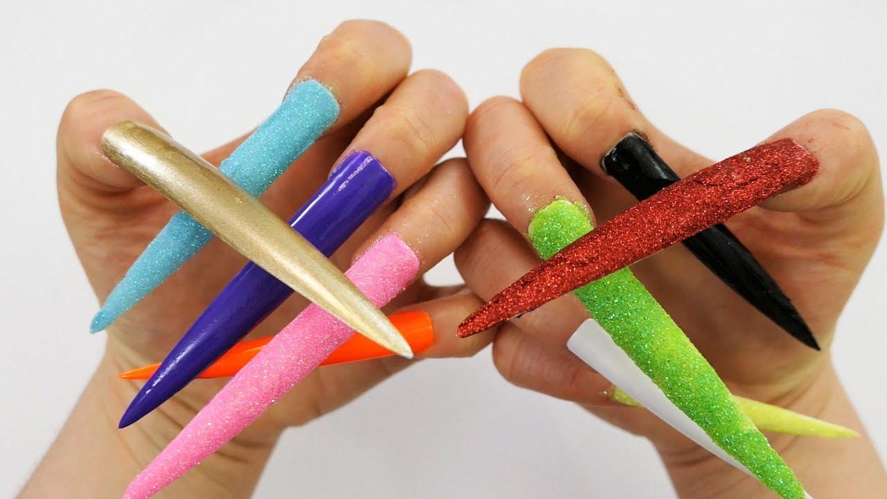 Learn Colors Nail Art 5 Glitter Nail And 5 Nail Polish Extra Long ...
