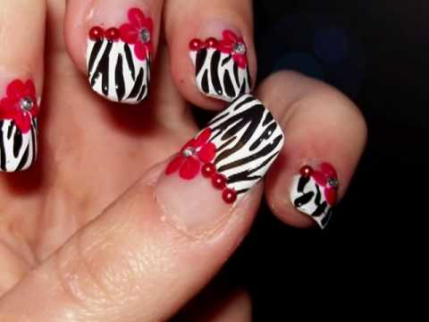 Sexy zebra print with flower nail design youtube sexy zebra print with flower nail design prinsesfo Images